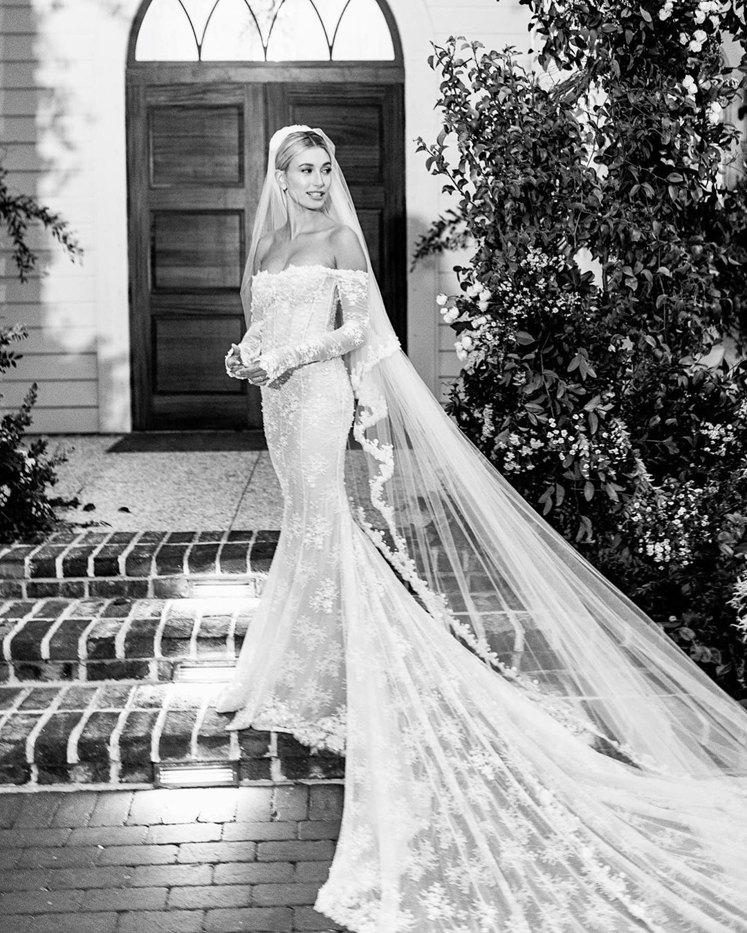 Hailey Baldwin is the perfect bride in off-shoulder gown for wedding with Justin Bieber