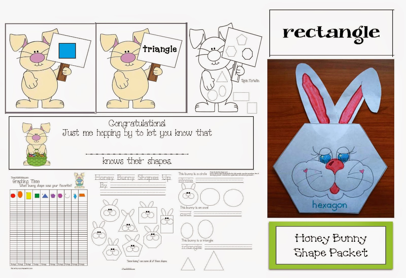 Classroom Freebies Hop Into Spring Bunny Shape Review Packet