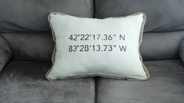 Plymouth Michigan Latitude and longitude pillow DIY