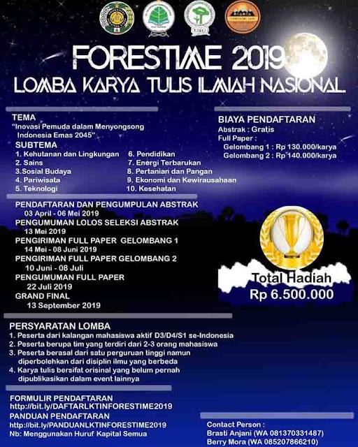 Lomba Karya Tulis Ilmiah Nasional Forestime 2019 Mahasiswa Terbaru