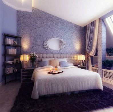 GroBartig Romantische Schlafzimmer Lila Weiß Farbschema Dekor Mit Schöne