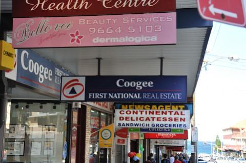Shops along Coogee Bay Road