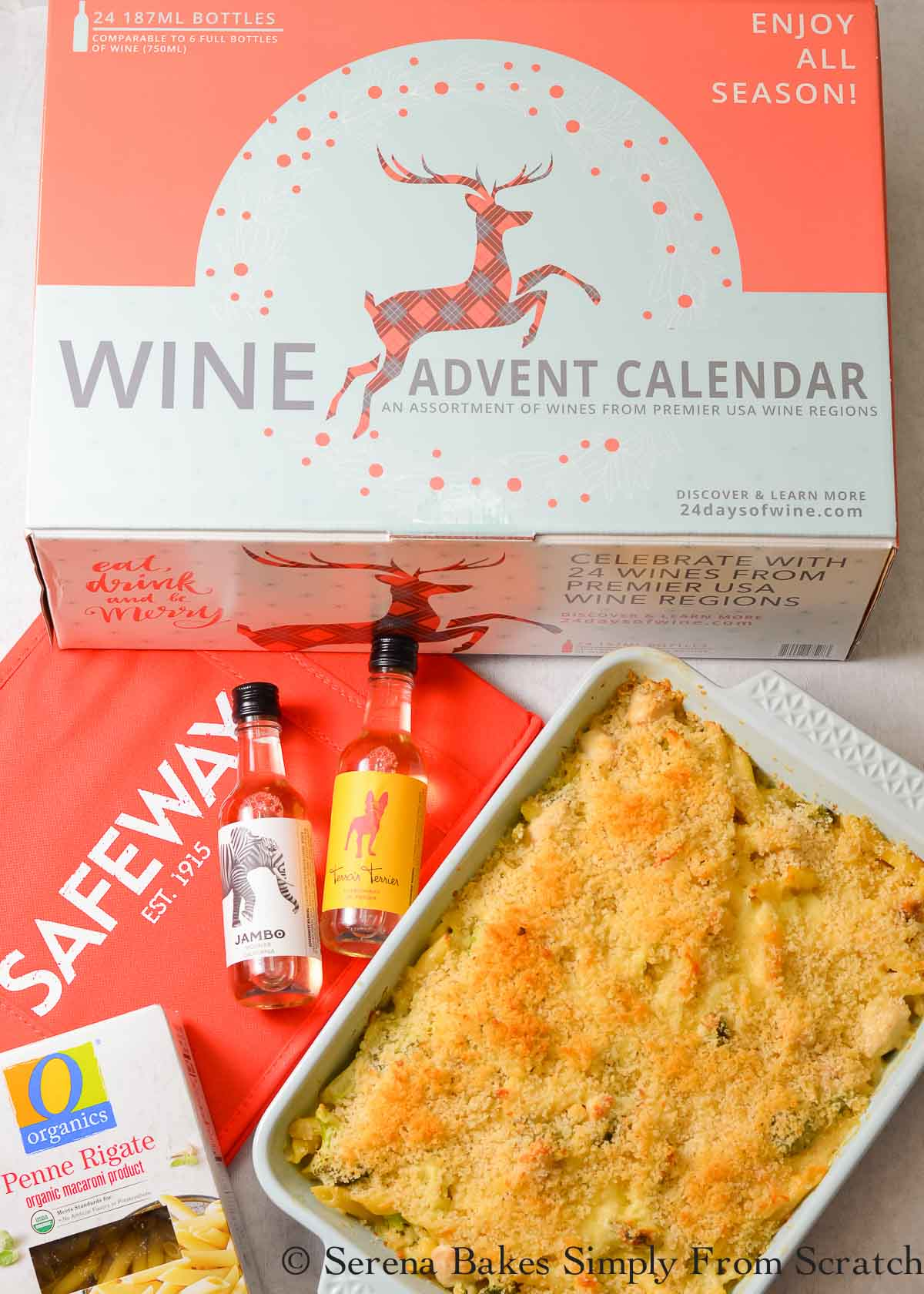 Chicken Broccoli Casserole with Panko Bread Crumbs and a Wine Advent Calendar.