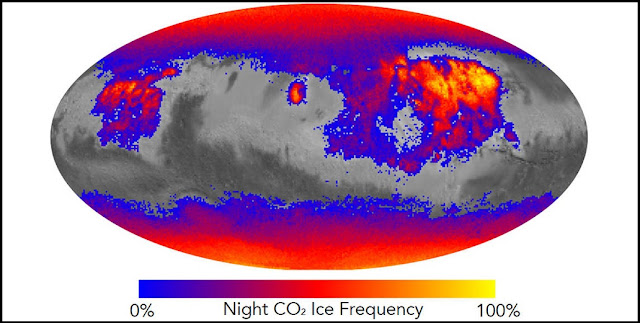 This map shows the frequency of carbon dioxide frost's presence at sunrise on Mars, as a percentage of days year-round. Carbon dioxide ice more often covers the ground at night in some mid-latitude regions than in polar regions, where it is generally absent for much of summer and fall. Credits: NASA/JPL-Caltech