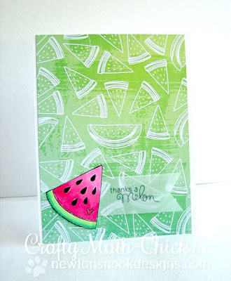 Ombre Thanks a Melon Watermelon card by Crafty Math Chick | Sweet Summer stamp set by Newton's Nook Designs