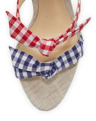 Alexandre Birman Lolita Gingham Three Strap Stiletto Sandals