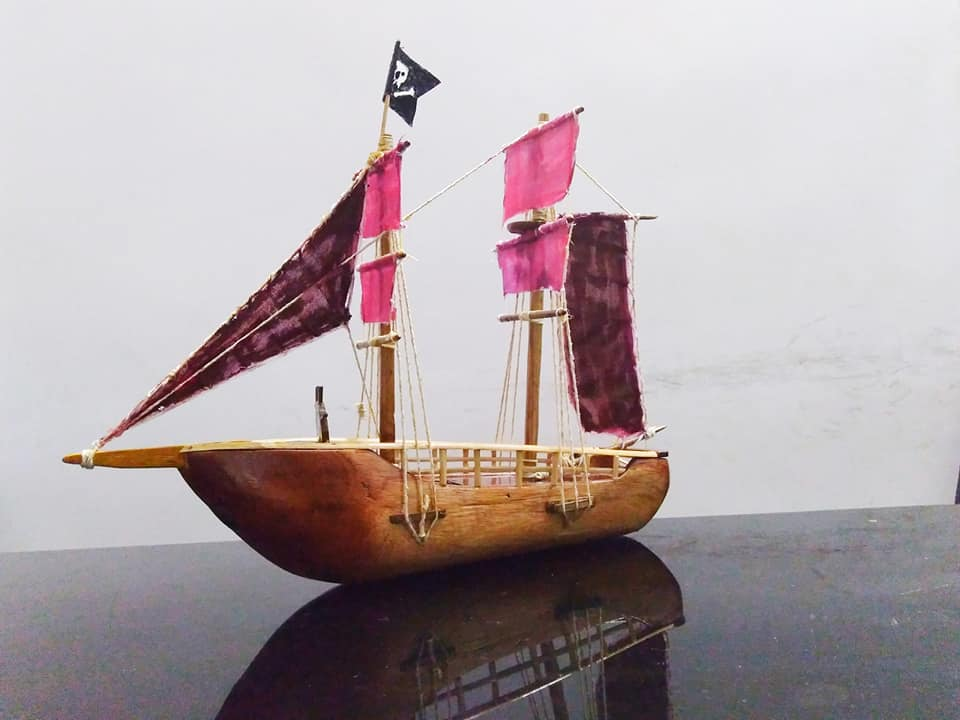 wood carving miniature sail