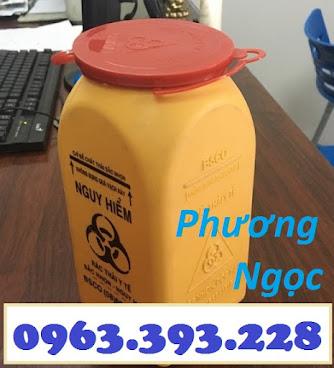 Hộp đựng vật sắc nhọn y tế 1.5 Lít, bình hủy kim tiêm y tế, bình đựng bơm tiêm H%25C4%2590KT1.5L2