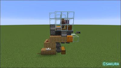 Minecraft 自動小麦畑兼取引所の側面