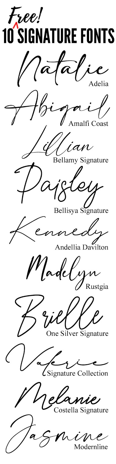 10 Free cursive calligraphy script signature fonts for handmade personalized gifts using the Cricut maker