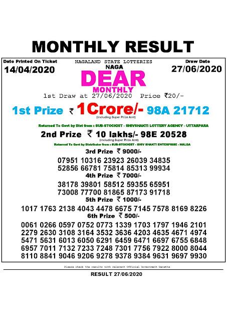 Lottery Sambad Naga Dear Monthly Lottery Results 14.04.2020 (27-06-2020)