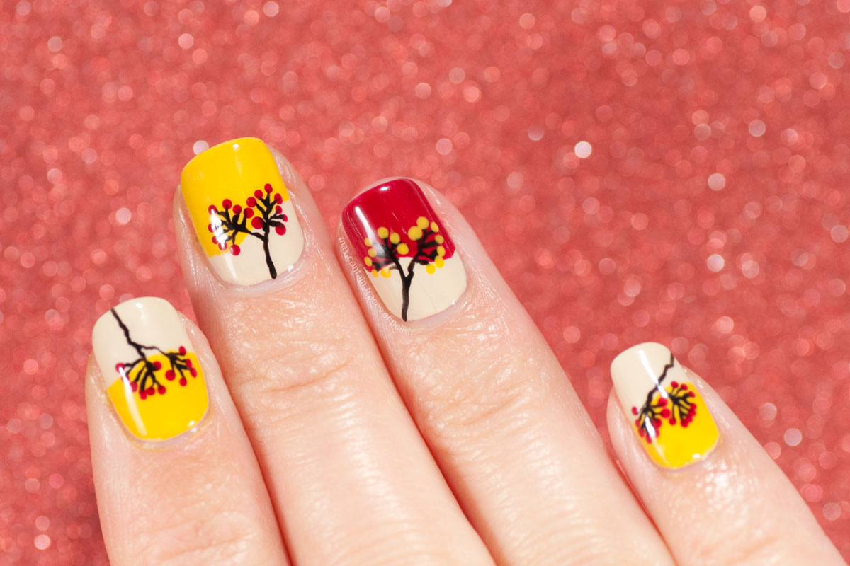 Autumn Nail Art Design with a Berry Branch