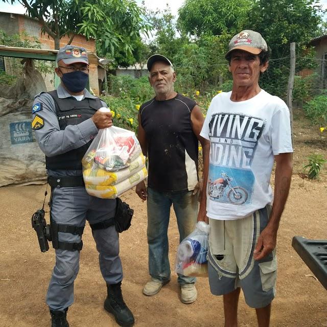 7º BPM entregou 12 cestas básicas no Distrito de Marzagão em Rosário Oeste