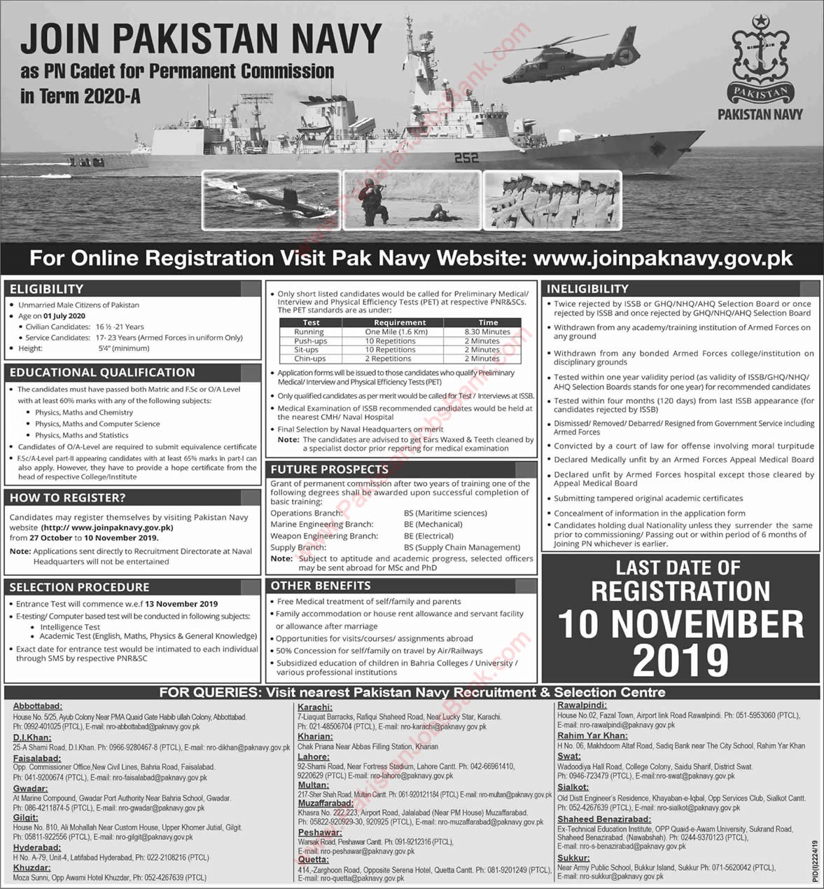 Pak navy new commissioned Jobs, Pakistan Navy latest jobs PN CADET