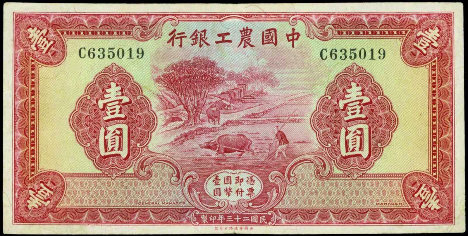China banknotes 1 Yuan Agricultural & Industrial Bank of China