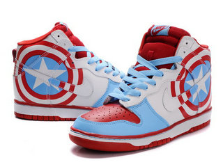 separation shoes 41a14 a5fef Captain America Sneakers Comics Nike Dunks SB High For Sale ,this is one  pair nike dunk captain america shoes .
