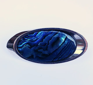 Abalone brooch in silver and blue shell