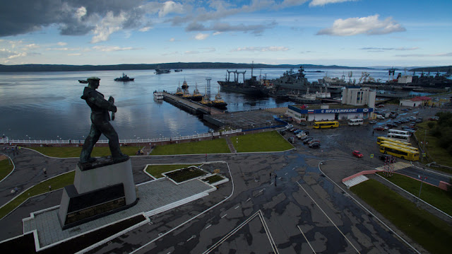 Image Attribute: A general view shows ships moored in the Northern Fleet's Arctic headquarters of Severomorsk, Russia July 30, 2016. Picture was taken July 30, 2016. REUTERS/Oleg Kuleshov