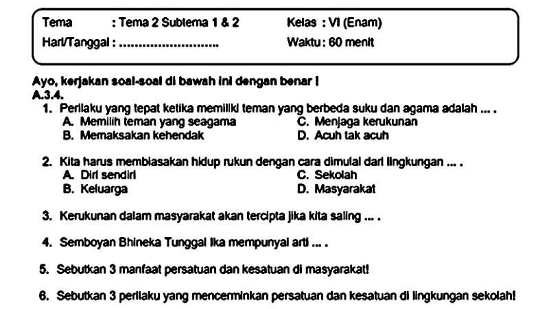 Soal Ulangan Kelas 6 Tema 2 Subtema 1 dan 2 dan + Kunci Jawaban