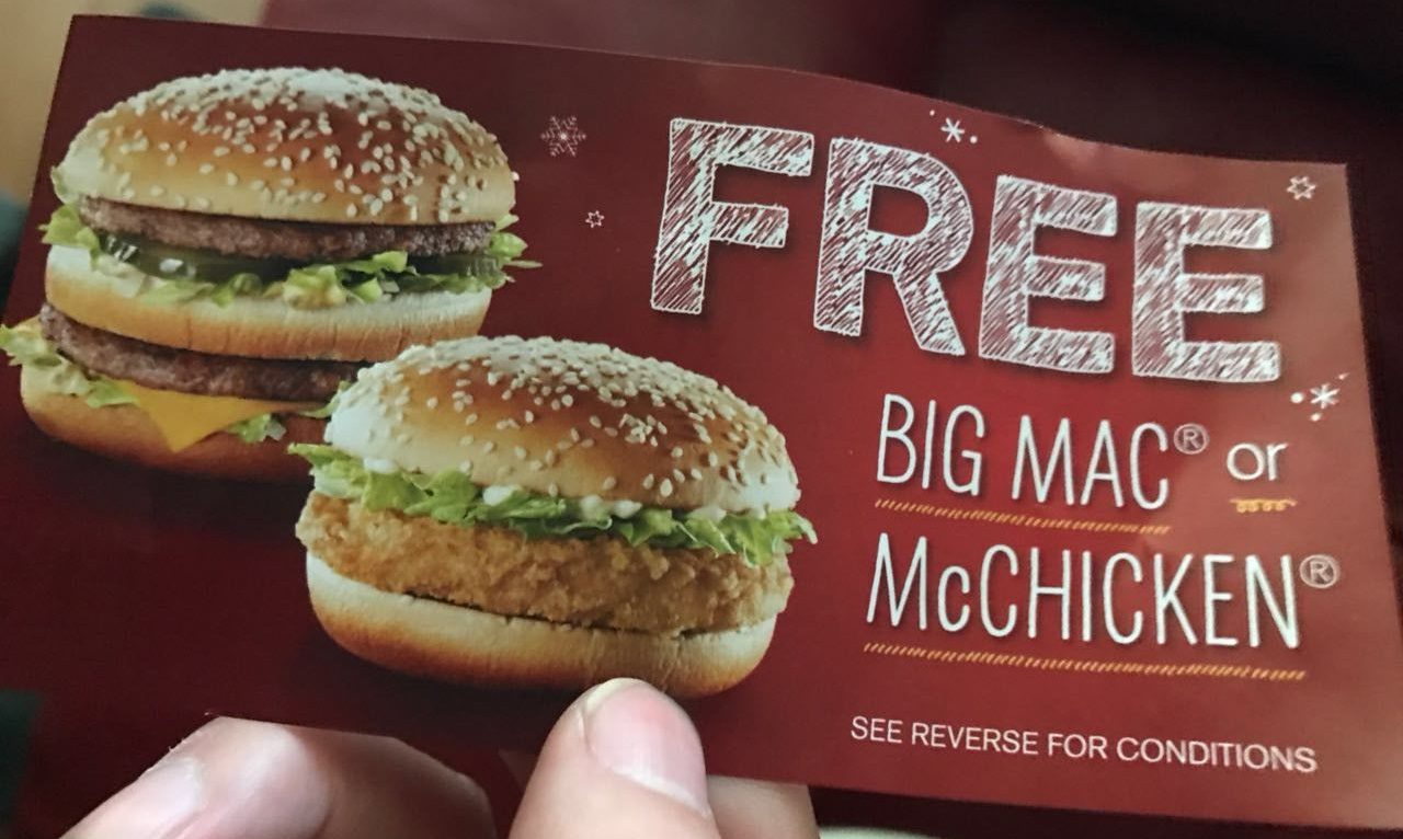 Mcdonalds free big mac or mcchicken with 25 mcdonalds gift card image 1betcityfo Image collections