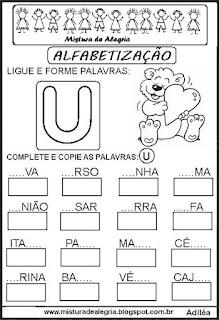 Atividades de alfabetização letra U