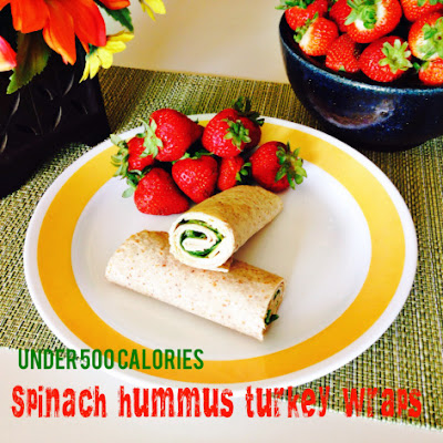 Spinach Hummus Turkey Wrap  #healthywraprecipe