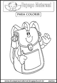Desenho de mochila para colorir
