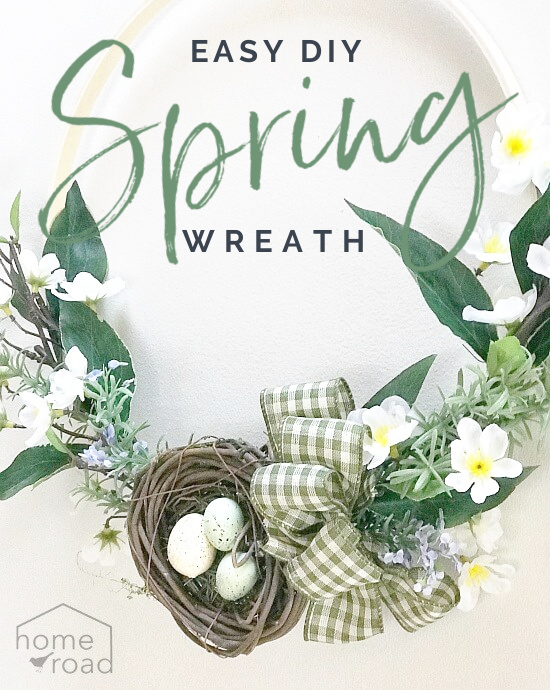 spring wreath with overlay