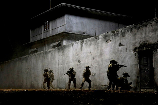 A screenshot from the 2012 film ZERO DARK THIRTY...which dramatized the U.S. military operation that killed Osama bin Laden, on May 2, 2011 (Pakistan Time).