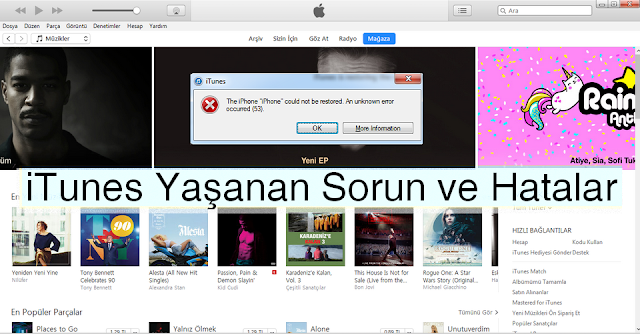 iTunes Yaşanan Sorun Ve Hatalar