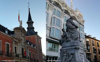 Plaza de la provincia y Estatua de Calderón de la Barca en la Plaza Santa Ana