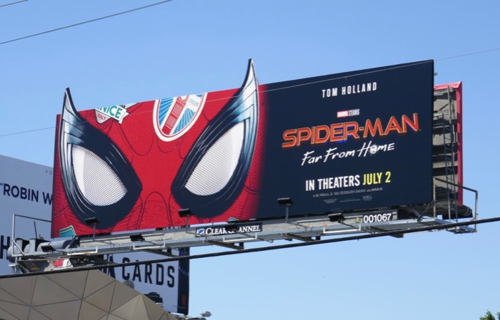 SpiderMan Far From Home mask cut-out billboard