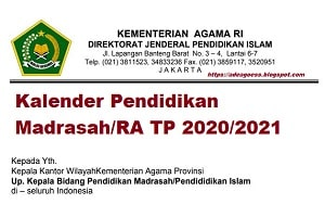Download Kalender Pendidikan Madrasah/RA TP 2020/2021
