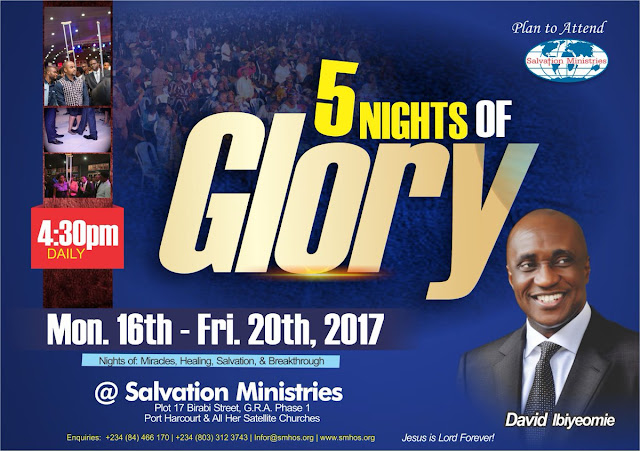 5 Nights of Glory is a yearly programme of Salvation Ministries (Home Of Success), with its headquarter in Port Harcourt, Rivers State, Nigeria.   The church shared the jingle through the Instagram handle of Pastor David Ibiyeomie, the presiding pastor and founder of the church.   Watch the video...