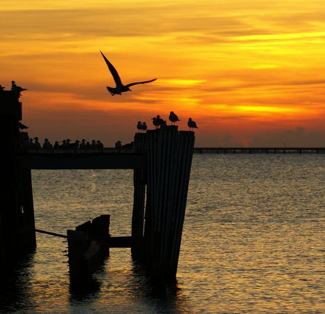 Sunset over Lake Pontchartrain in New Orleans, Louisiana