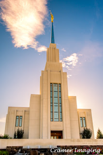 Professional quality fine art photograph of the Twin Falls Idaho temple front glowing by Cramer Imaging