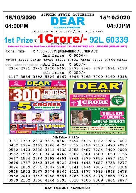 Lottery Sambad 15-10-2020, Lottery Sambad 4 pm results, Sikkim Lottery Results, Lottery Sambad Today Results Live, Day results