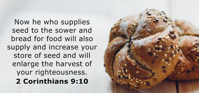Now he who supplies seed to the sower and bread for food will also supply and increase your store of seed and will enlarge the harvest of your righteousness.