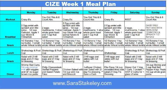 CIZE Plan B Meal Plan