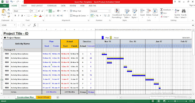 Project Plan Template in Excel Free