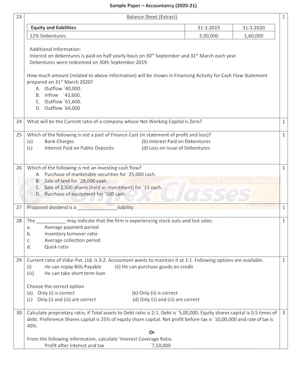 Accountancy SQP Class XII Sample Question Paper & Marking Scheme for Exam 2020-21
