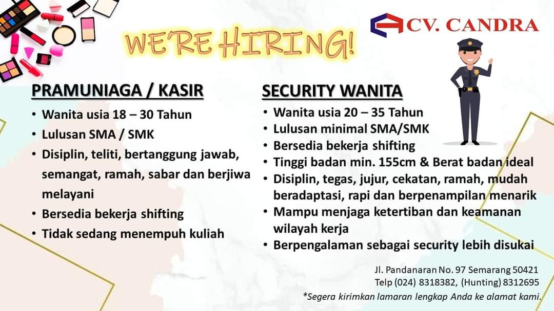 Lowongan Pramuniaga/Kasir & Security Wanita di CV Candra Semarang