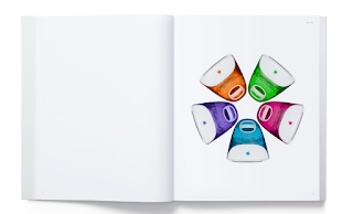 A page from Apples new picture book showing old style imacs in various different colors
