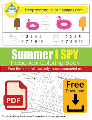 Summer I spy game free printable preschool coloring pages , pdf file or jpg , learn to count from 1 to 10 for kids