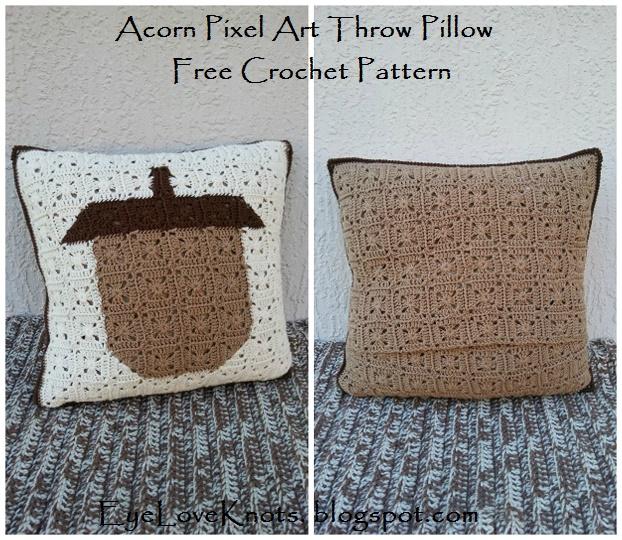 EyeLoveKnots Acorn Pixel Art Throw Pillow Free Crochet Pattern