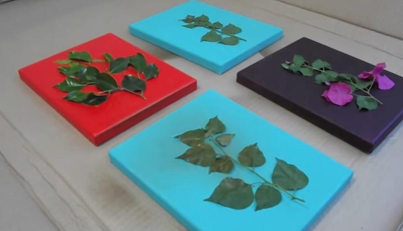 cmo hacer cuadros para decorar o regalar fcil y rpido con pintura acrlica y utilizando hojas reales de plantas verdes