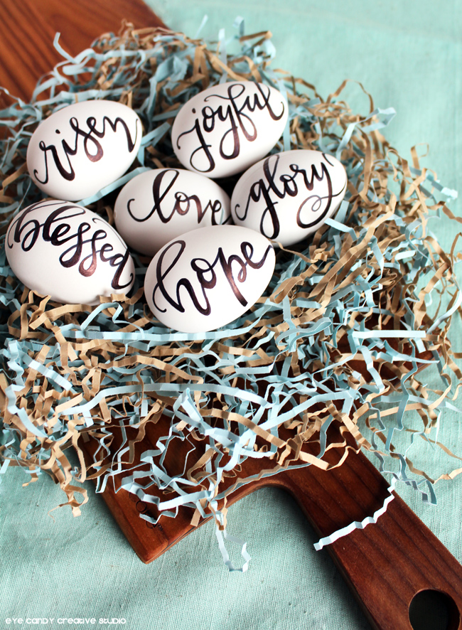 easter decorating, farmhouse easter, black & white decor, lettering