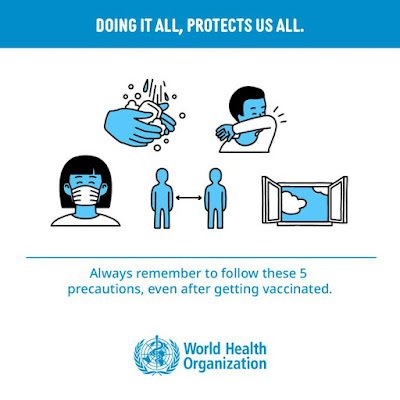 Still use protective measures, even after your vaccine the World Health Organisation