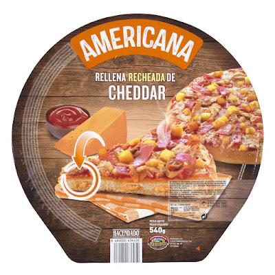 Pizza americana rellena de cheddar Hacendado