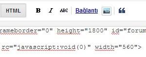 Blogger grup formu iframe kodlarının görünümü